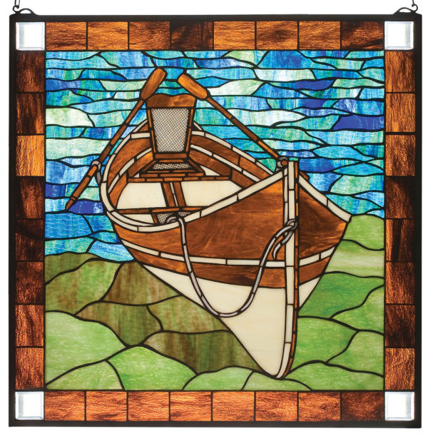 "Beached Canoe Guideboat | Stained Glass Window Panel | 26"" W X 26"" H"