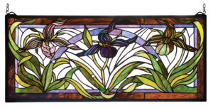 "Lady Slippers | Stained Glass Window Panel | 30"" W 13"" H"
