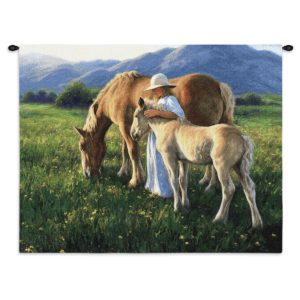 """Beautiful Blondes (Horses)   34"""" x 26""""   Tapestry"""