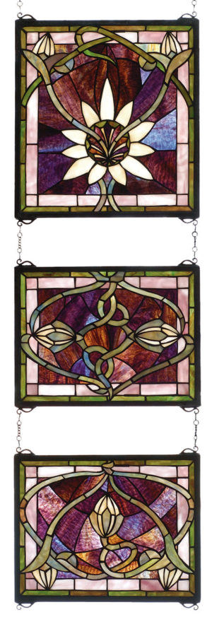 "Solstice 3 Piece | Stained Glass Panel | 14"" W X 39"" H"