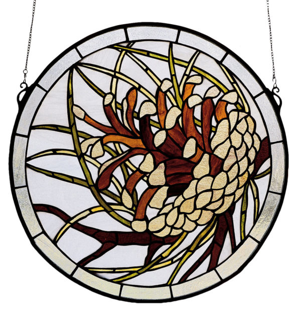 "Pinecone Medallion | Stained Glass Window | 17"" W X 17"" H"
