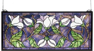 "Magnolia | Art Glass Window | 25"" X 11"""