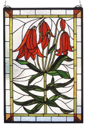 "Trumpet Lily | Hanging Stained Glass Panel | 16"" X 24"""