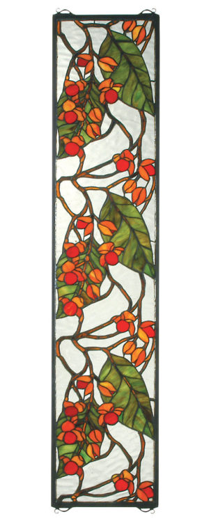 "Bittersweet | Hanging Stained Glass Panel | 9"" W X 42"" H"
