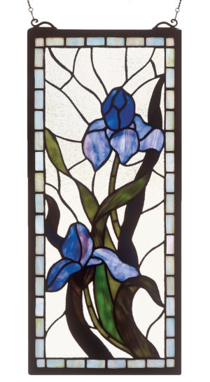 "Iris | Hanging Stained Glass Panel | 9"" X 20"""