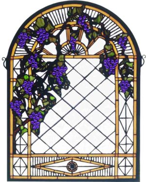 "Grape Diamond Trellis | Tiffany Glass Window Panel | 22"" X 30"""