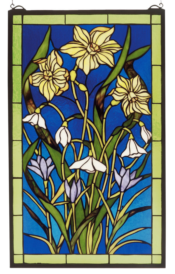 """Spring Bouquet   Stained Glass Panel   15"""" W X 25"""" H"""