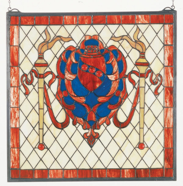 Victorian Shield/Twin Torch | Stained Glass Window