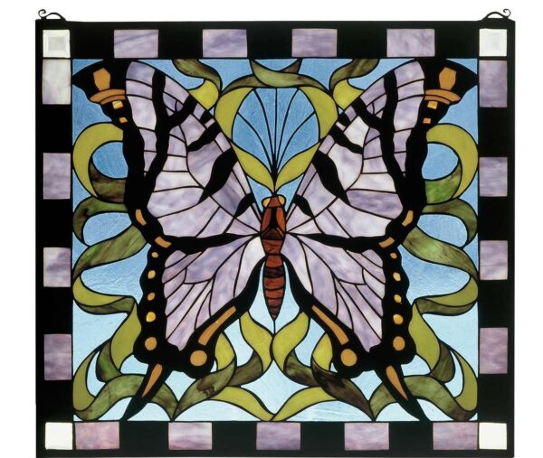 """Butterfly   Tiffany Stained Glass Panel   25"""" X 23"""""""