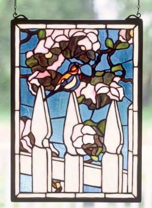 "Picket Fence | Hanging Stained Glass Panel | 13"" X 18"""