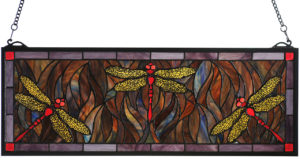 "Dragonfly Trio | Stained Glass Window | 28"" W X 10"" H"