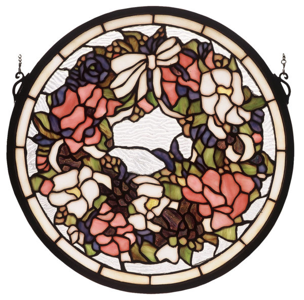 "Wreath | Stained Glass Window | 15"" W X 15"" H"