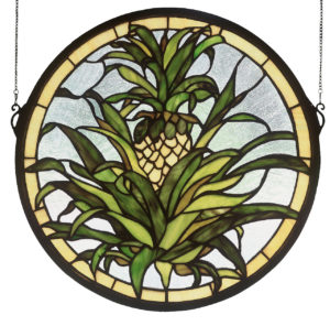 "Welcome Pineapple | Stained Glass Window Hanging | 16"" X 16"""