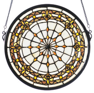 Fleur-De-Lis | Round Stained Glass Window | 13""