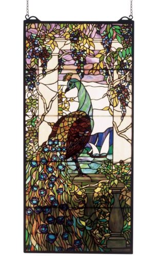 "Tiffany Peacock Wisteria | Tiffany Art Glass Window | 19"" X 40"""