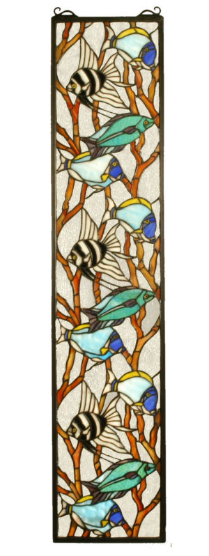 "Tropical Fish | Hanging Stained Glass Panel | 9"" W X 42"" H"
