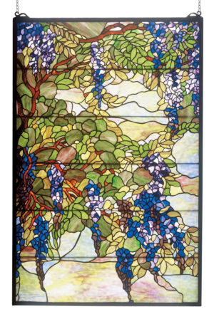 "Tiffany Wisteria & Snowball | Stained Glass Window Hanging | 32"" W X 48"" H"