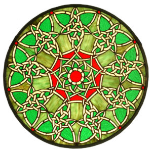 "Knotwork Trance Medallion | Stained Glass Window Panel | 20"" W X 20"" H"