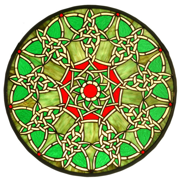 """Knotwork Trance Medallion   Stained Glass Window Panel   20"""" W X 20"""" H"""