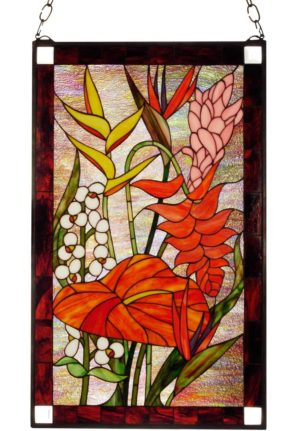 "Tropical Floral | Stained Glass Window | 20"" X 32"""