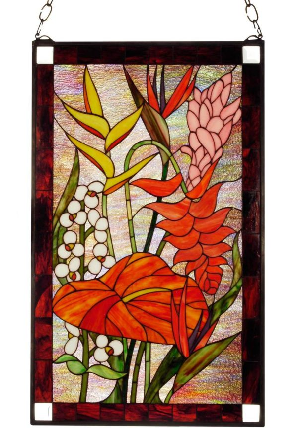 """Tropical Floral   Stained Glass Window   20"""" X 32"""""""