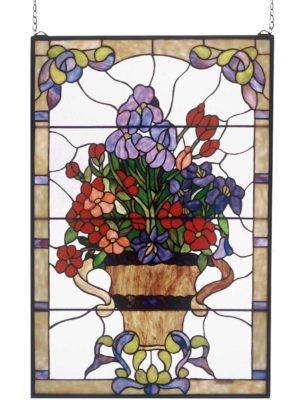 "Floral Arrangement | Stained Glass Window Hanging | 24"" X 36"""