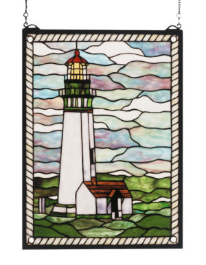 """Yaquina Head Lighthouse   Stained Glass Panel   15"""" W X 20"""" H"""