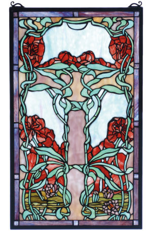 "Nouveau Water Lily | Hanging Stained Glass Panel | 15"" W X 25"" H"