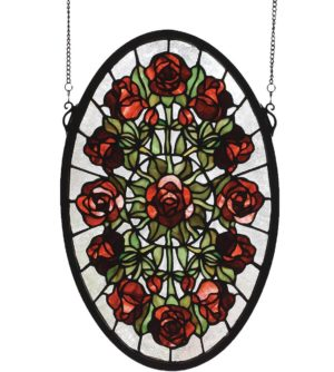 "Oval Rose Garden | Art Glass Panel | 11"" X 17"""