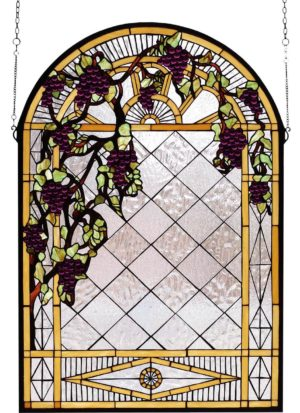 "Grape Diamond Trellis | Art Glass Window Panel | 24"" X 36"""