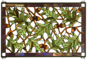 "Tall Oak | Stained Glass Panel | 28"" W X 18"" H"
