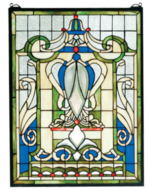 "Royal Blue Windsor | Hanging Stained Glass Panel | 18"" W X 24"" H"