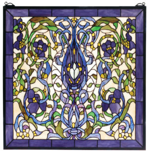 "Floral Fantasy | Stained Glass Panel | 22"" W X 22"" H"