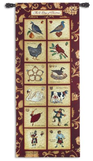 The Twelve Days of Christmas | 32 x 73 | Seasonal Tapestry Wall Hanging