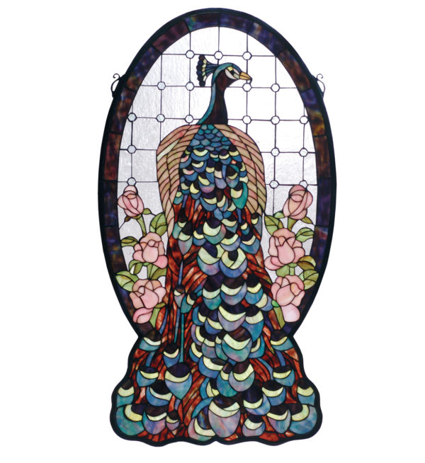 """Peacock Profile Stained Glass Window   20"""" W X 38"""" H"""