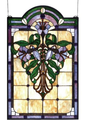 "Nouveau Lily | Tiffany Glass Panel | 22"" X 35"""