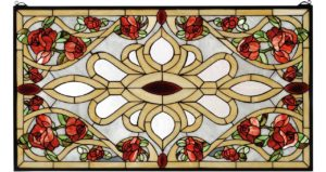 "Bed of Roses | Tiffany Glass Window Panel | 36"" X 20"""