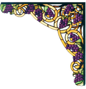 "Grapevine With Amber Corner Bracket | Stained Glass | 13"" W X 13"" H"