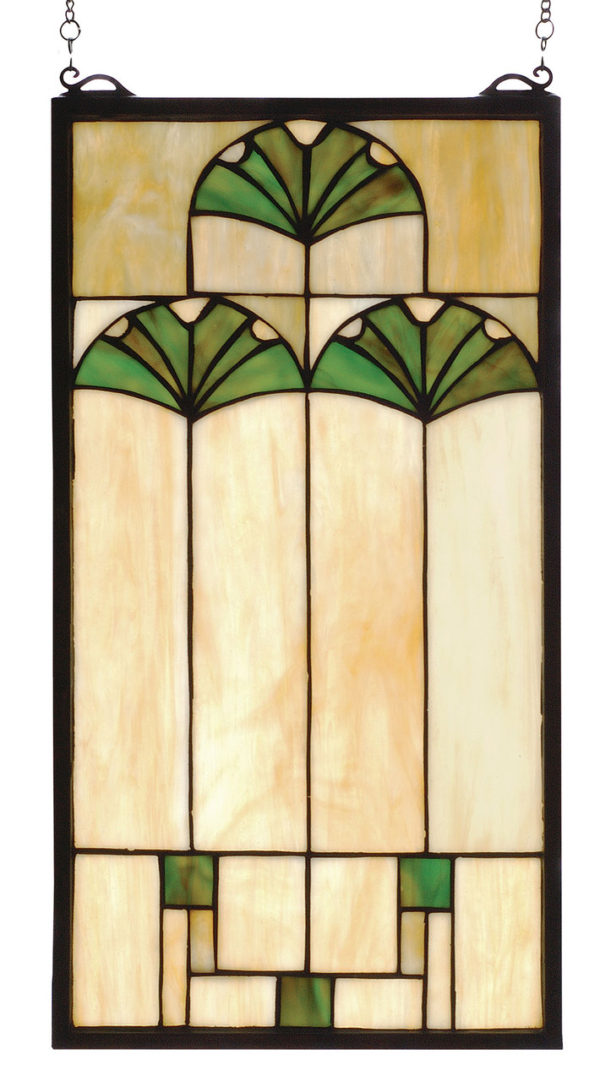 """Ginkgo   Stained Glass Panel   11"""" W X 20"""" H"""
