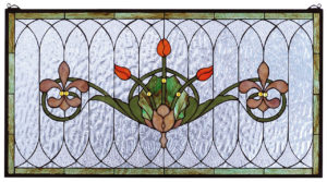 "Tulip & Fleurs | Hanging Stained Glass Panel | 36"" W X 19"" H"
