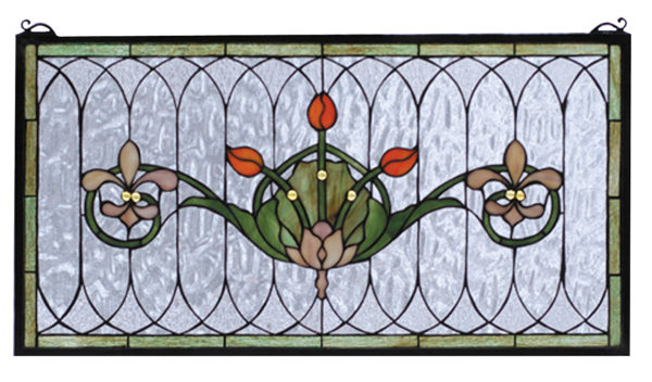 """Tulip & Fleurs   Stained Glass Panel   26"""" W X 14"""" H"""