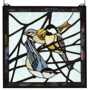 "Early Morning Visitors | Stained Glass Window Panel | 18"" W X 18"" H"
