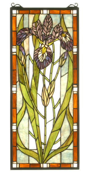 "Iris | Stained Glass Window | 12"" W X 28"" H"