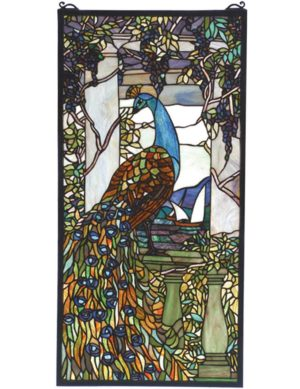 "Tiffany Peacock Wisteria | Art Glass Window | 15"" X 30"""