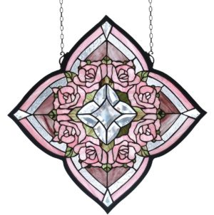 "Ring of Roses | Tiffany Stained Glass Window | 20"" X 20"""
