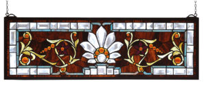 "Beveled Ellsinore Transom | Stained Glass Panel | 28"" W X 9"" H"