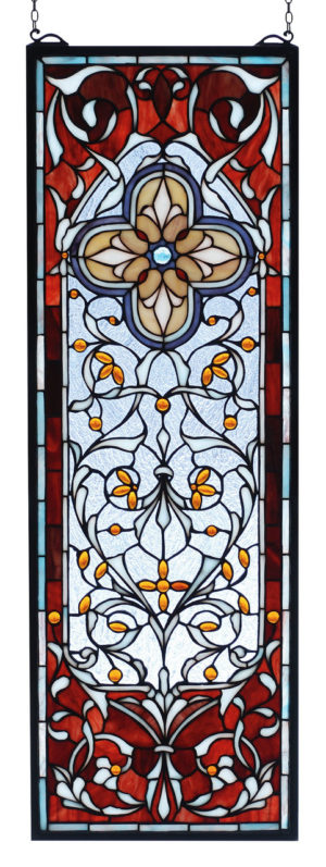 "Versaille Quatrefoil | Stained Glass Window | 11"" W X 32"" H"