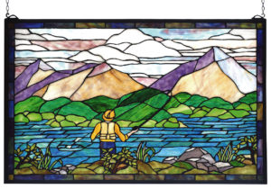 "Gone Fly Fishing | Stained Glass Window | 30"" W X 19"" H"