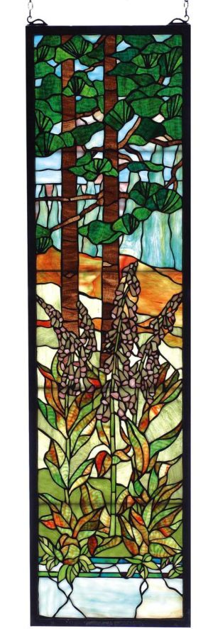 "Tiffany Foxgloves | Art Glass Window | 12"" X 44"""