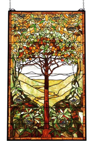 "Tiffany Tree of Life | Art Glass Window Hanging | 29"" X 48"""